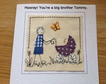 New Big Brother card. Big brother baby card. Hooray big brother. Handmade. Can be personalised with your words printed at the top