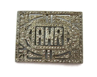 Art Deco Jewelry - Marcasite Silver Initial Brooch Monogram AMR