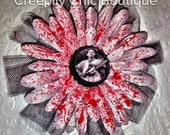 Leatherface Texas Chainsaw Massacre Blood Splatter Flower Hair Clip