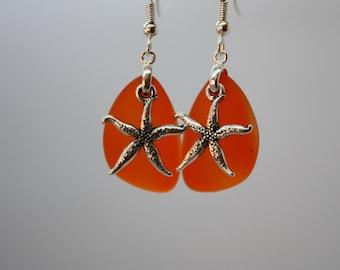 Orange Sea Glass Earrings Star Fish Starfish Earrings Seaglass Earrings Starfish Jewelry Sea Glass Jewelry Beach Jewelry Seaglass Jewelry 69