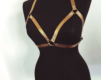 Gold Leather Bra | Gold Leather Harness | Body Harness | Chest Harness  | Leather Top | Leather Belt | Leather Accessories |Leather Lingerie