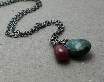 Emerald, Ruby Necklace May, July Birthstone Pendant Oxidized Sterling Silver Necklace Holiday Jewelry