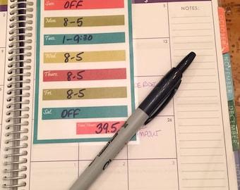 Weekly Work Schedule planner insert - INSTANT DOWNLOAD