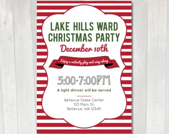 Printable Christmas Party Invitation | LDS Ward Christmas Party Invitation | Red striped invitation | Work Holiday Party Invitation