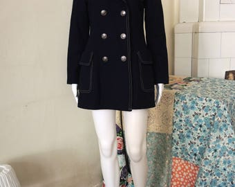 Vintage double-breasted jacket caban winter coat with anchor and sailor collar Military