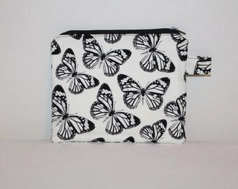 Butterfly Makeup Bag, Flat Zippered Pouch, Small makeup bag, Cosmetics,  Cosmetic Bag, Flat Zippered Pouch