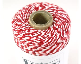 BOLD Bakers Twine 240 yard spool MARASCHINO RED & White Twine String for crafting, gift wrapping, packaging, invitations