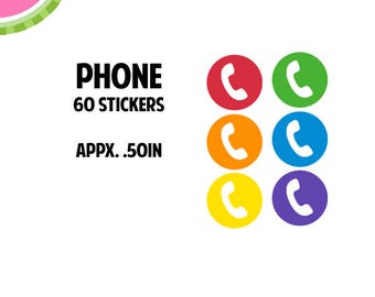 Phone Utility Icon Stickers | 60 Kiss Cut Stickers | IC049