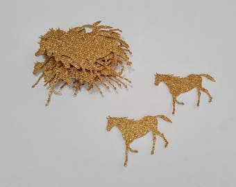 Horse Die Cut outs gold silver glitter 30 count custom colors party decor confetti craft supplies diy Scrapbook horses handcrafted paper