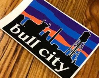 "Durham NC Bull City Skyline Sticker 4.75""L x 3""H"