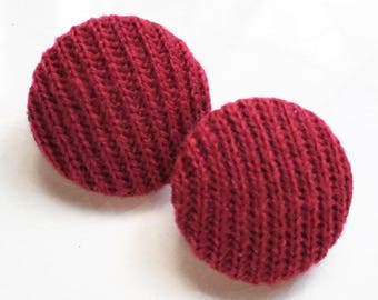 eco friendly shank buttons covered with wine red acrylic sweater fabric--matching lot of 2