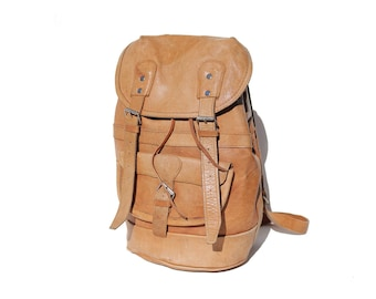 Vintage Tan Leather Backpack