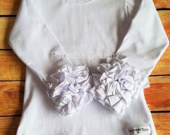 Ruffle Layering Top Little Girls Ruffle Shirt Girls Tee White Top Plain Layering Top Tee Boutique Clothing White T-Shirt Triple Ruffle Top