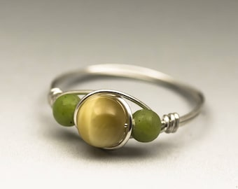 Honey Tiger's Eye & Nephrite Jade Gemstone Sterling Silver Wire Wrapped Ring - Made to Order, Ships Fast!
