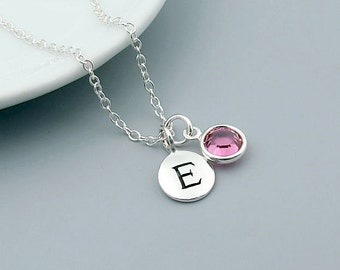 Birthstone Necklace, Personalized Initial & Birthstone Necklace,  sterling silver, birthday gift, choose your birthstone