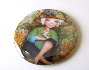 Betty in her Garden Pocket Mirror Made From Original Artwork with Organza Bag 2 1/4 inches