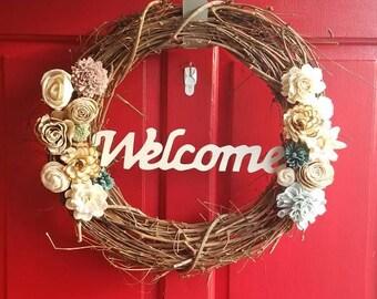 Sola Wood Flower Welcome Wreath