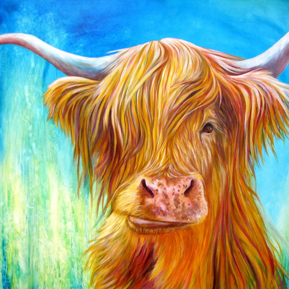 Highland cow with turquoise green and blue cow art print of for Cow painting print
