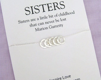 Sister Gift, Sterling Silver, 50th birthday gifts for Sister, 5 Ring, 50th Birthday Gift for Women, Sister 50th Birthday Gift, 50th Birthday