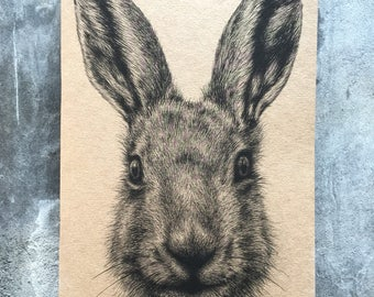 A5 kraft blank notebook hare pencil drawing