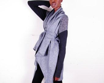 Denim Draped Wrap Jacket Vest Gilet Coat One Size