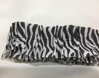 Crepe Paper Ruffle Trim, Zebra Print, Black & White Ribbon, Party Decoration, Crafting, Embellishment