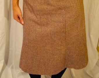 1960s Vintage Brown Tweed Wool Swing Skirt