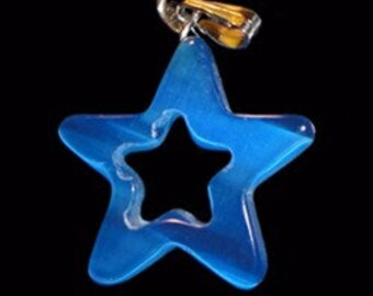 28mm Capri Blue Cats Eye Fiber Optic Star Pendant With Silver Bail