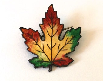 Enamel Maple Leaf Brooch - Sterling Silver