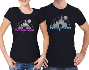 Disney inspired Honeymoon His and Her matching black T-shirts.