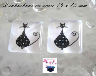 2 glass cabochon square 15 x 15 mm for earring or pendant heart cat theme