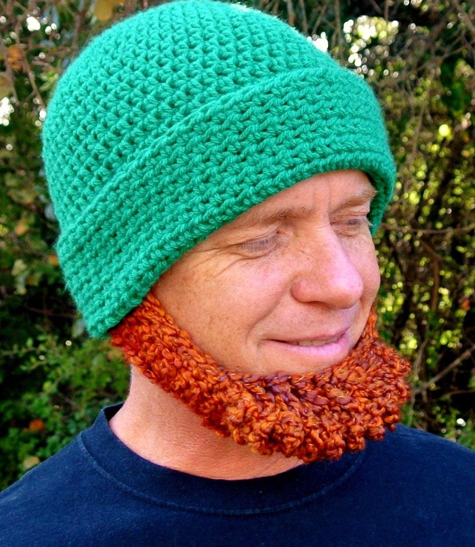 Crochet Hat Pattern Irish Beard Beanie REVERSIBLE Photo