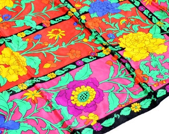 Specialty House Scarf, Vintage Silk Bright Floral Large Square, Hand Rolled Hem, Head Neck Wrap Bandana, made in Japan itsyourcountry