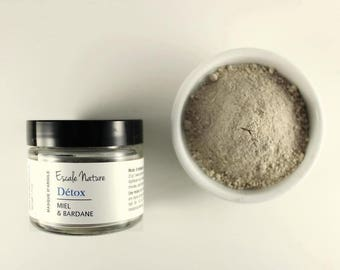 Detox clay mask with burdock extract and activated charcoal, natural facial care, rhassoul and white clay kaolin, honey, face mask,