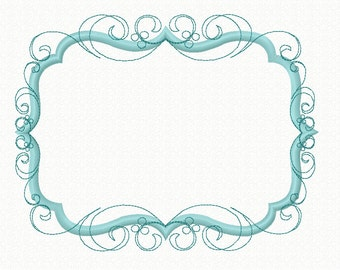 Embroidery Design Flourish Swirly Frame Machine Applique, Flourish Frame Design Hoop size 4X4 5X7 6x10 8x12