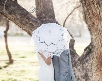 Special Offer White Battenburg Lace Vintage Umbrella Parasol For Bridal Bridesmaid Wedding