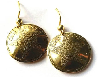Bahamas Coin Earrings Gold Colored Jewelry Woman Birthday Gift for Her Christmas Gift for Her