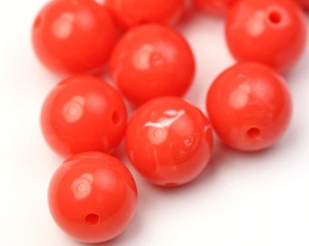 Vintage Lucite Beads Round 12mm Opaque Coral (10) VPB269