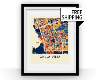 Chula Vista Map Print - Full Color Map Poster