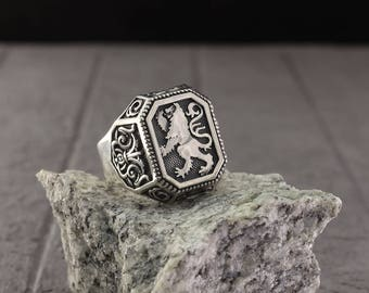 Lion big signet ring, Lion mens silver ring, Large signet ring, Leo silver ring, Royal silver signet ring, Lion ring, Unique gift for men