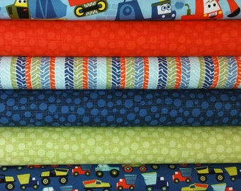 Construction Builder Fat Quarter Bundle From Michael Miller Little Mover Collection (6 Fabrics)