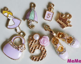 1 Set 7 Pcs Purple Charms Alloy Ballet Purse Kawaii Bracelets Pendants Accessories Studs Cabochon Deco Den Phone Case DIY Deco kit PP061
