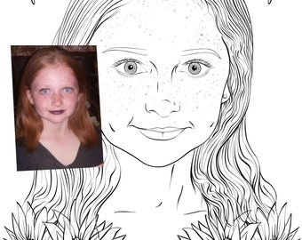 Commission portrait photograph adult colouring page digital download