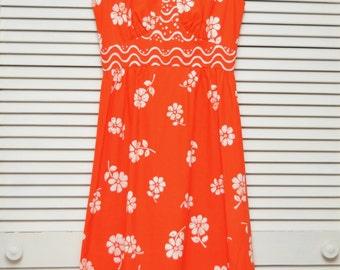 Vintage Womens Teen Hawaiian Wiggle Dress Bright Orange Floral Print/Designer Malia Honolulu/60s Sleeveless/XS Junior Luau Cocktail Tropical