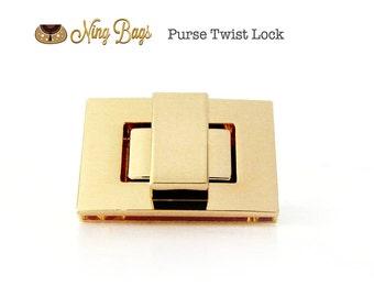 High Quality Twist Lock in Soft Gold, Turn Lock, Purse Twist Lock in Beautiful Gold Finish