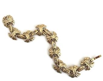 "Vintage Bridal Gold Tone Rhinestone Link Bracelet 6 3/4"""