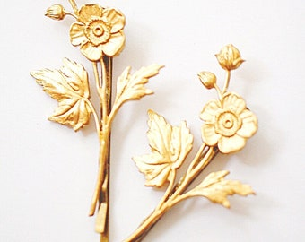 Bobby Pins, Hair pins, Flower hair pins, Gold hair pins, Hairpins, Bridal hair pins, Hair Accessories, decorative bobby pins, Gift for BFF