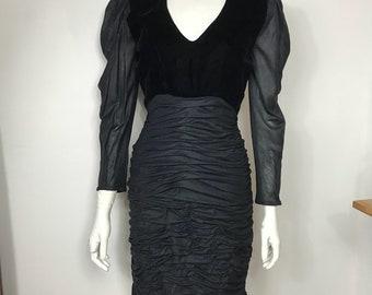 Vtg 80s Emanuelle Ungaro parallele black velvet and jersey ruched body con dress