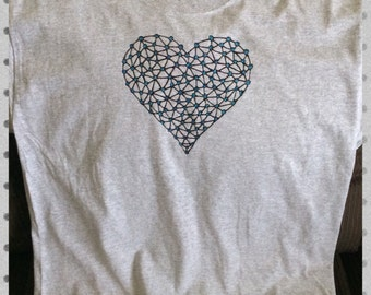 Heart T-shirt Hand Painted