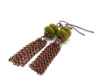 Moss Green Tassel Earrings - Long Bronze Chain Earrings - Agate Stones - Bohemian Jewelry